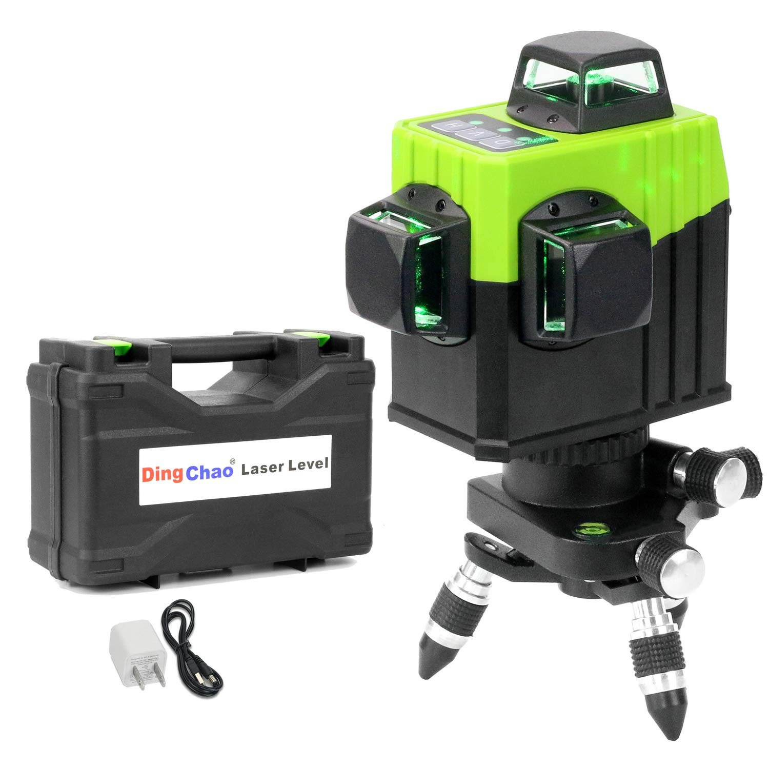 Dingchao Self-Leveling Three-Plane 3 x 360 Green Line Laser Level,with Micro-Adjust / 360 Degree Pivoting Base, Hard Carrying Case,Power Plug Adapter,Multi-functional Laser Leveler Layout Laser Tools by DINGCHAO (Image #1)