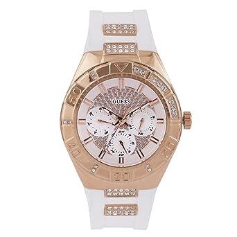 1257f197f369 Guess - W0653L4 - Montre Femme - Quartz Analogique - Cadran Blanc - Bracelet  Caoutchouc Blanc