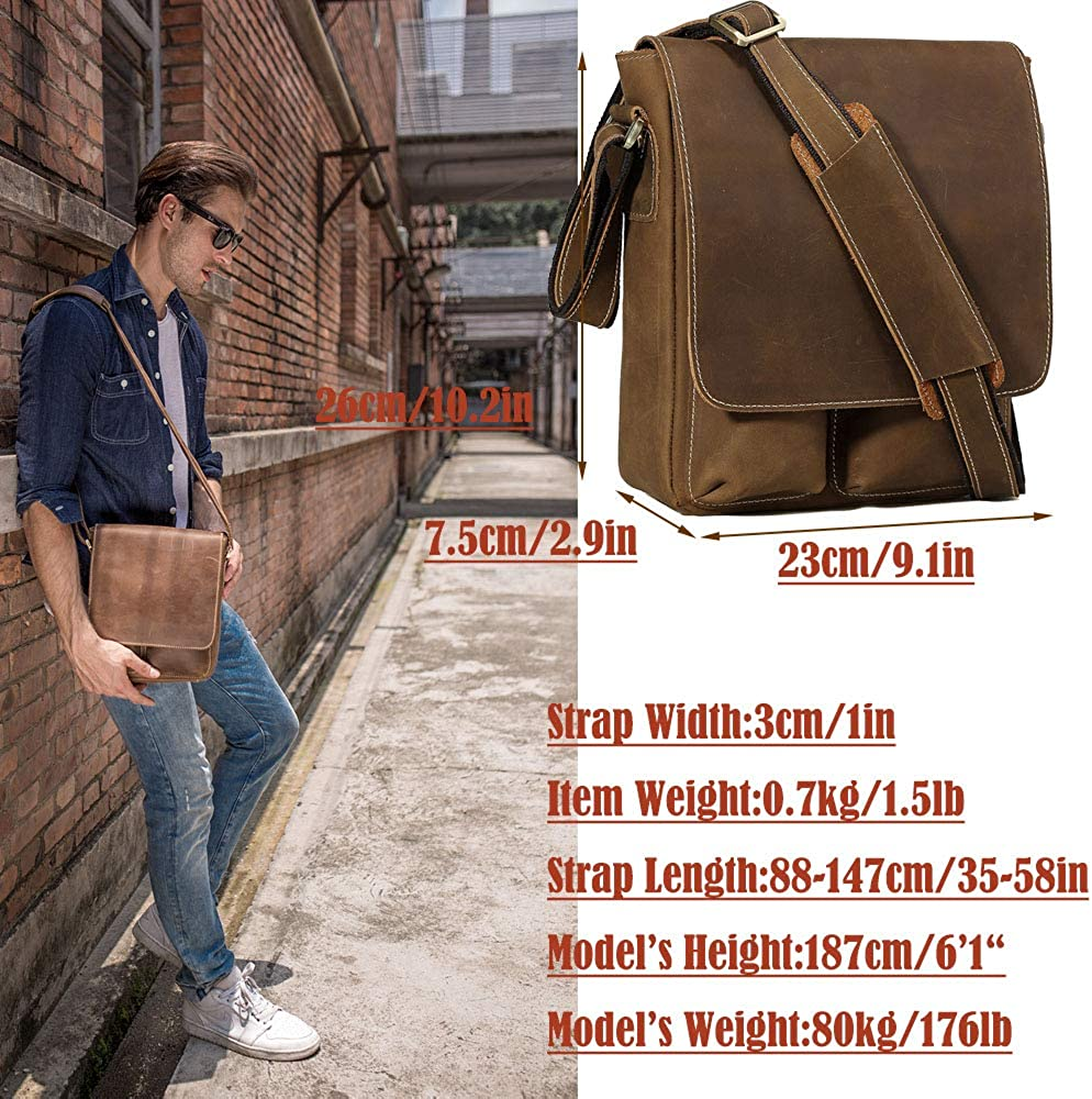 Vints Mens Full Grain Leather Shoulder Bag with Pen Slot Card Holder Anti-Theft Bag,Messenger Bag Fits 10 inch Tablets Working Business Satchel Bags,Brown Brown