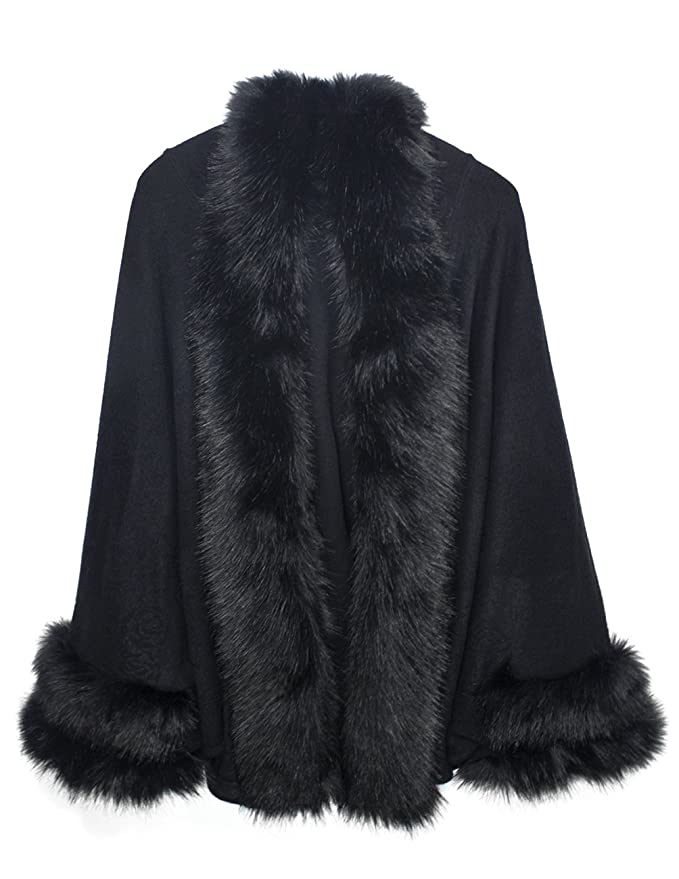 Downton Abbey Costumes Ideas Poncho - Faux Fur Trim Imprinted Rose Cape $59.95 AT vintagedancer.com