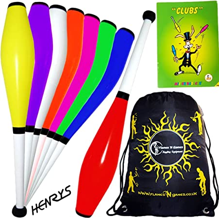 3x HENRYS DELPHIN Pro Juggling Clubs Set of 3 + Mr Babache CLUBS Booklet + Flames N Games Travel Bag! Quality Training Juggling Club Ideal For Number Juggling & Passing! (Yellow)