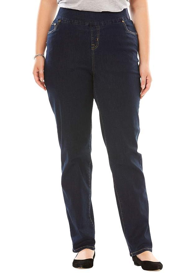 239cf3070eb Woman Within Women s Plus Size Straight Leg Smooth Waist Jean at Amazon  Women s Clothing store