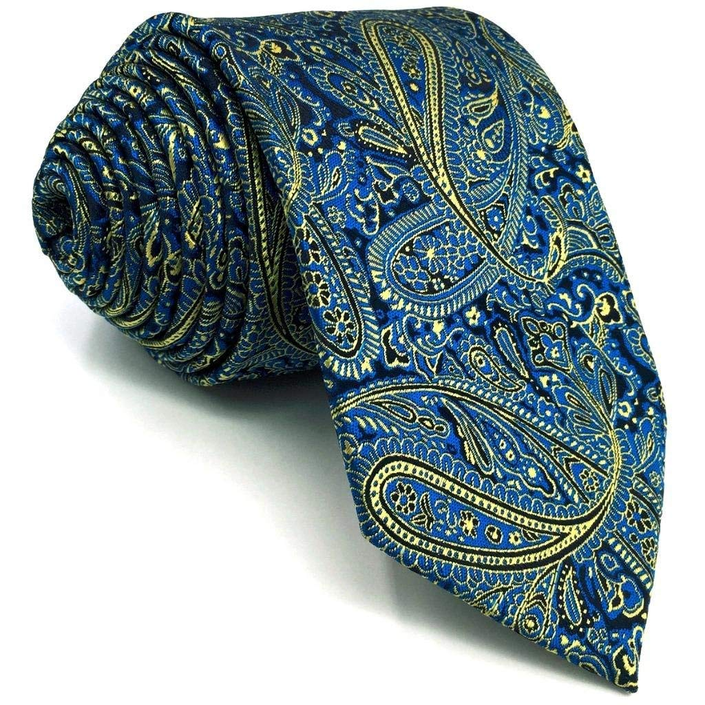 SHLAX&WING Luxury Mens Neckties Blue Yellow Paisley Extra Long New for Suit Jacket