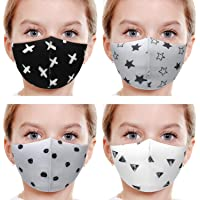4 Pack Unisex Kids Washable Reusable Face Masks Bandanas, Multi-Colors & Designs Mixed Set (SET A - X, Star, G.Dot…