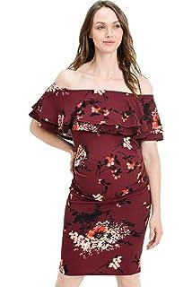 ec643865c82 My Bump Maternity Dress Velvet - Premium Soft Stretch Cold Shoulder ...