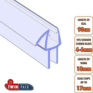 Pantalla portátil para ducha puerta cinta de sellado adhesiva - Wing longitud 18 mm - para 4-6mm cristal - unidades: Amazon.es: Bricolaje y herramientas
