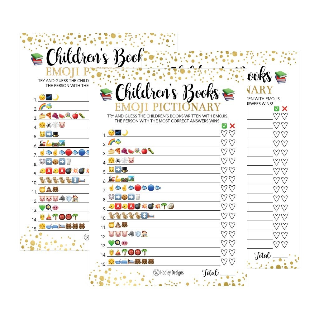 25 Emoji Children's Books Pictionary Baby Shower Game Party Ideas For Quiz Boy, Girl, Kids, Men, Women and Couples, Cute Classic Bundle Pack Set, Gold Pink or Blue Gender Neutral Unisex Fun Coed Cards