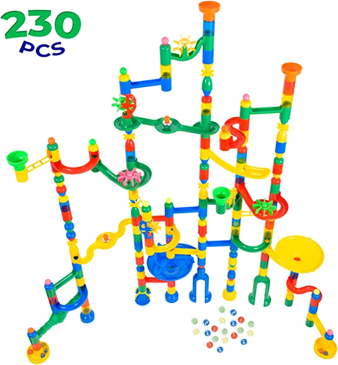 30 Glass Marbles Building Block Toys,STEM Learning Toy Marble Maze Games with 75 Translucent Marbulous Pieces pozzolanas Marble Run Toy,105 Pcs Marble Race Track for Kids