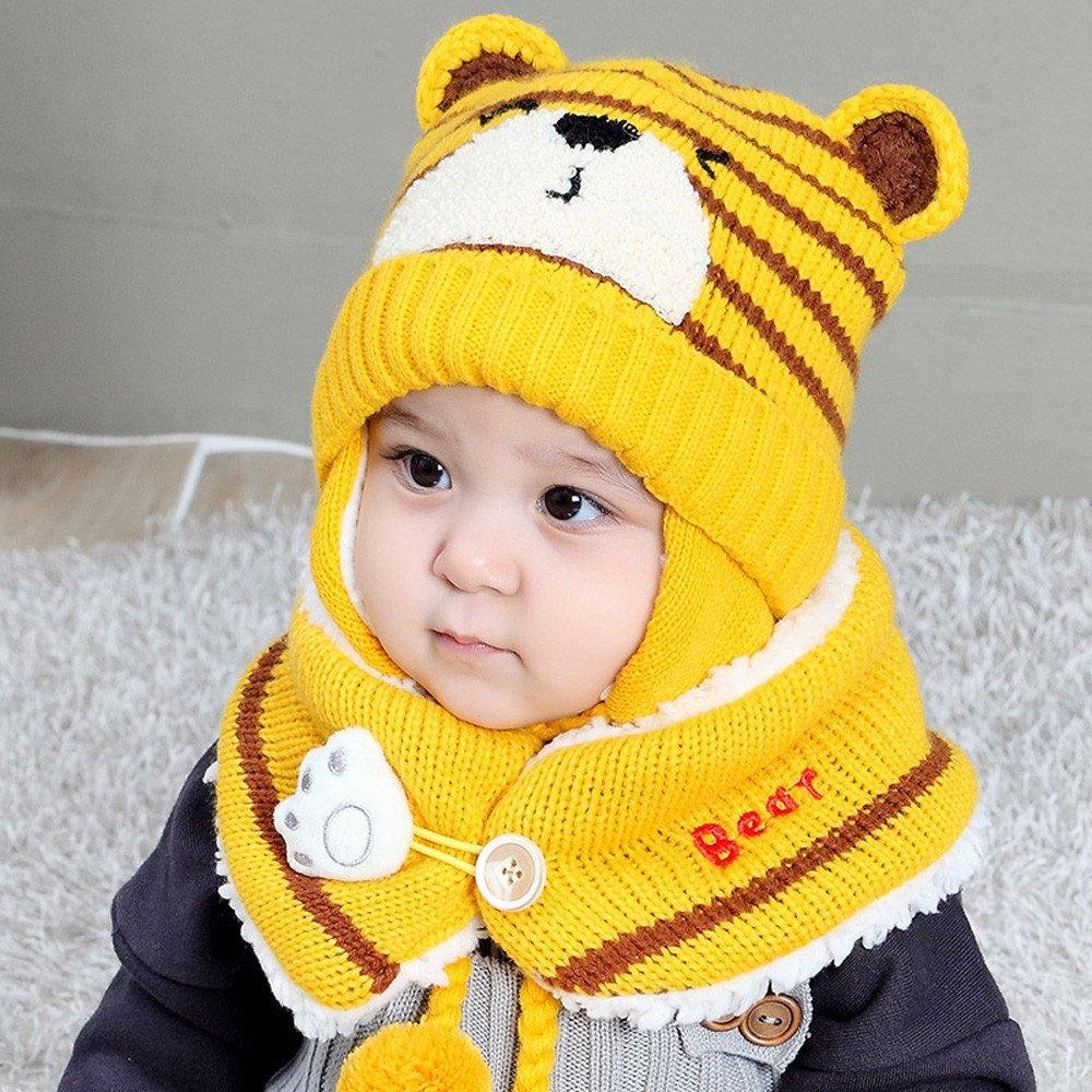 xinxinyu Baby Gestrickt m/ütze und Schal Kinder Gestrickter M/ütze Beanie M/ütze Haube Strickm/ütze Winter Wolle Gestrickte Earflap Hut Kappe Schnee Hut Schlupfm/ütze 0-2Jahre