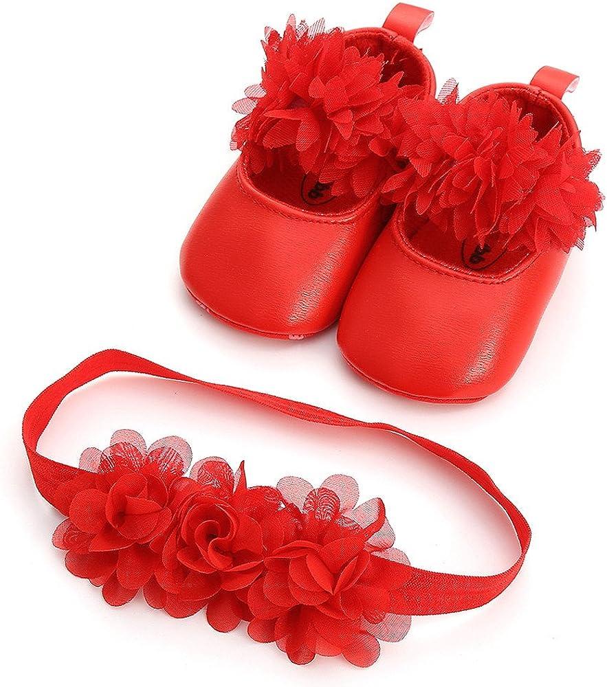 B/éb/é Fille Chaussures Ballerines 2pcs Dentelle+Bandeau Fleur Ensemble Anniversaire Bapt/ême C/ér/émonie Bambin bebe 6 12 18mois Semelle Souple Anti-d/érapant Princesse Chaussures