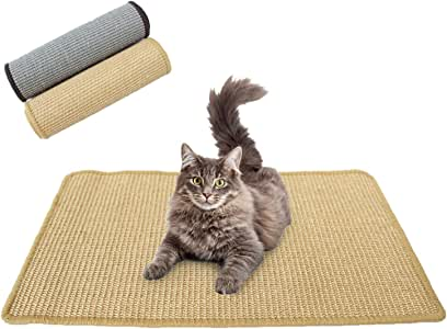 Downtown Pet Supply Natural Cat Scratching Mat with Premium Sisal, Exerciser Mat Toy for Kitty with Non Slip Backing (Oatmeal, Small)