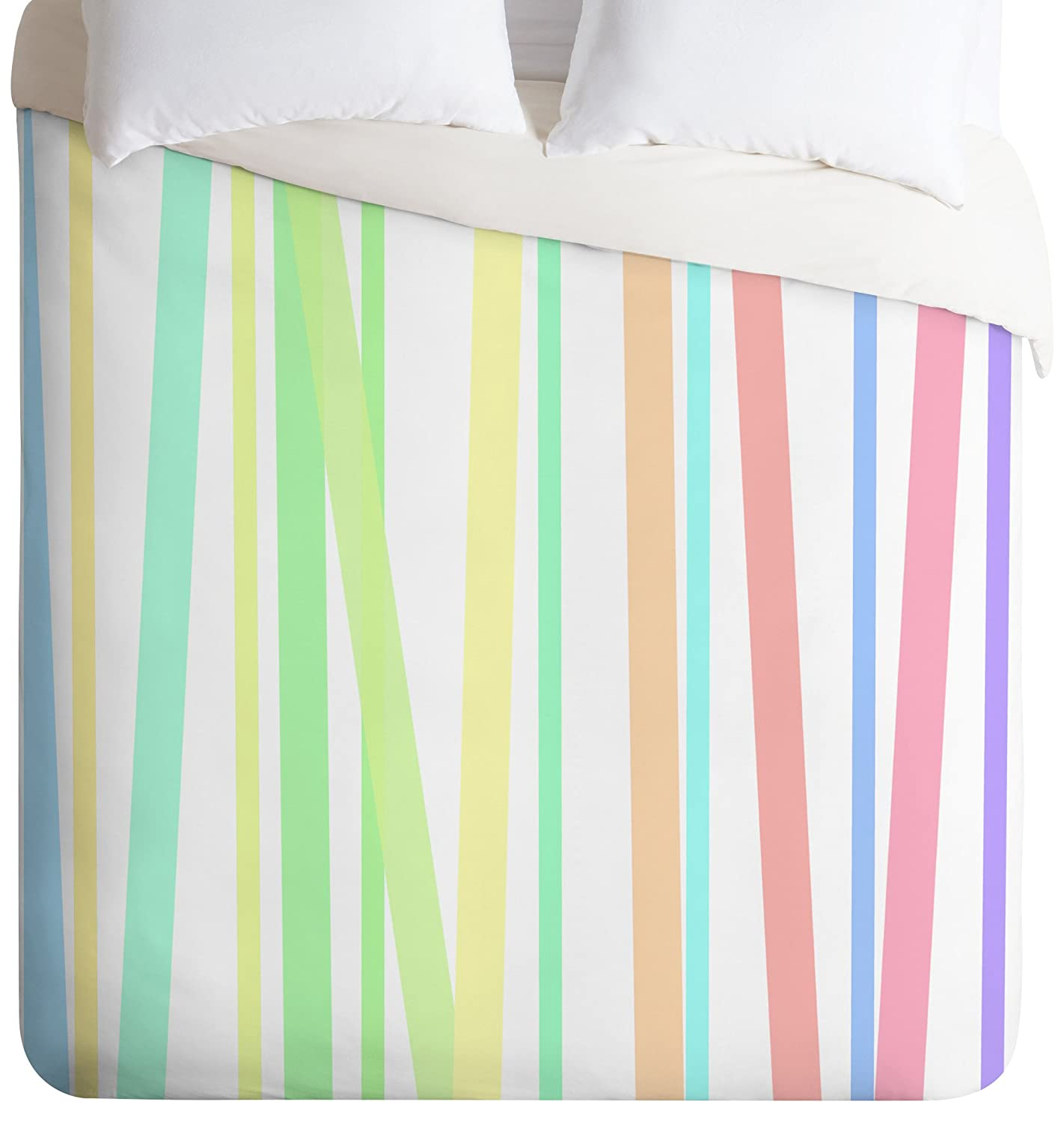 Deny Designs Lisa Argyropoulos Pastel Rainbow Stripes Duvet Cover Queen 51277-dliqun