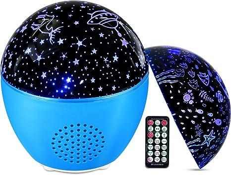 Comprar MOSUO Lámpara Proyector Estrellas Oceano Luz Nocturna Infantil, USB Recargable LED Proyector para Niños con Bluetooth y Control Remoto 16 Modos 4 Temporizador 360°Rotación para Bebé Regalo Fiesta