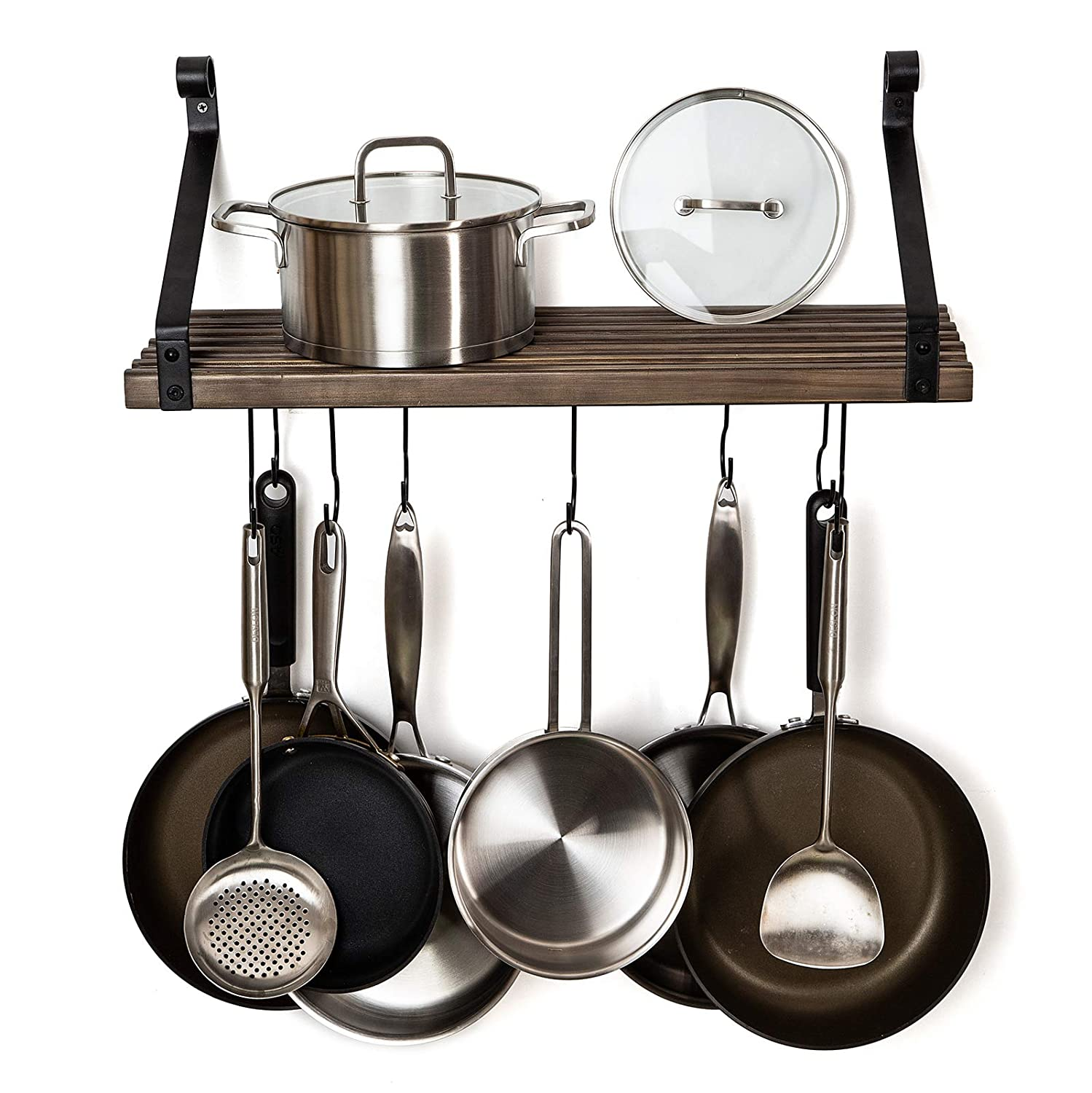 Soduku Pot Pan Rack with Solid Wood Shelf, Wall Mounted Multifunctional Kitchen Hanging Organizer with 8 Hooks for Pots Pans Lids Utensils Cookware Brown
