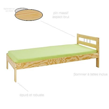 H24living Letto 90x200 cm letto in legno letto singolo letto in ...
