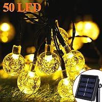 Guirnalda Luces Exterior Solares, 9.5M 50LED Cadena de Bola Cristal Luz, 8 Modos IP65 Impermeable Interior y Exterior Guirnalda Luminosas Solar para Jardín, Navidad, Terraza, Fiestas (Blanco Cálido)