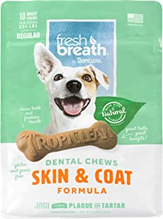 product image for Fresh Breath by TropiClean Dog Dental Care Skin & Coat Dental Chews for Dogs 25+ Pounds, 10ct, 11oz - Helps Brush Away Plaque and Tartar — Made in the U.S.A.