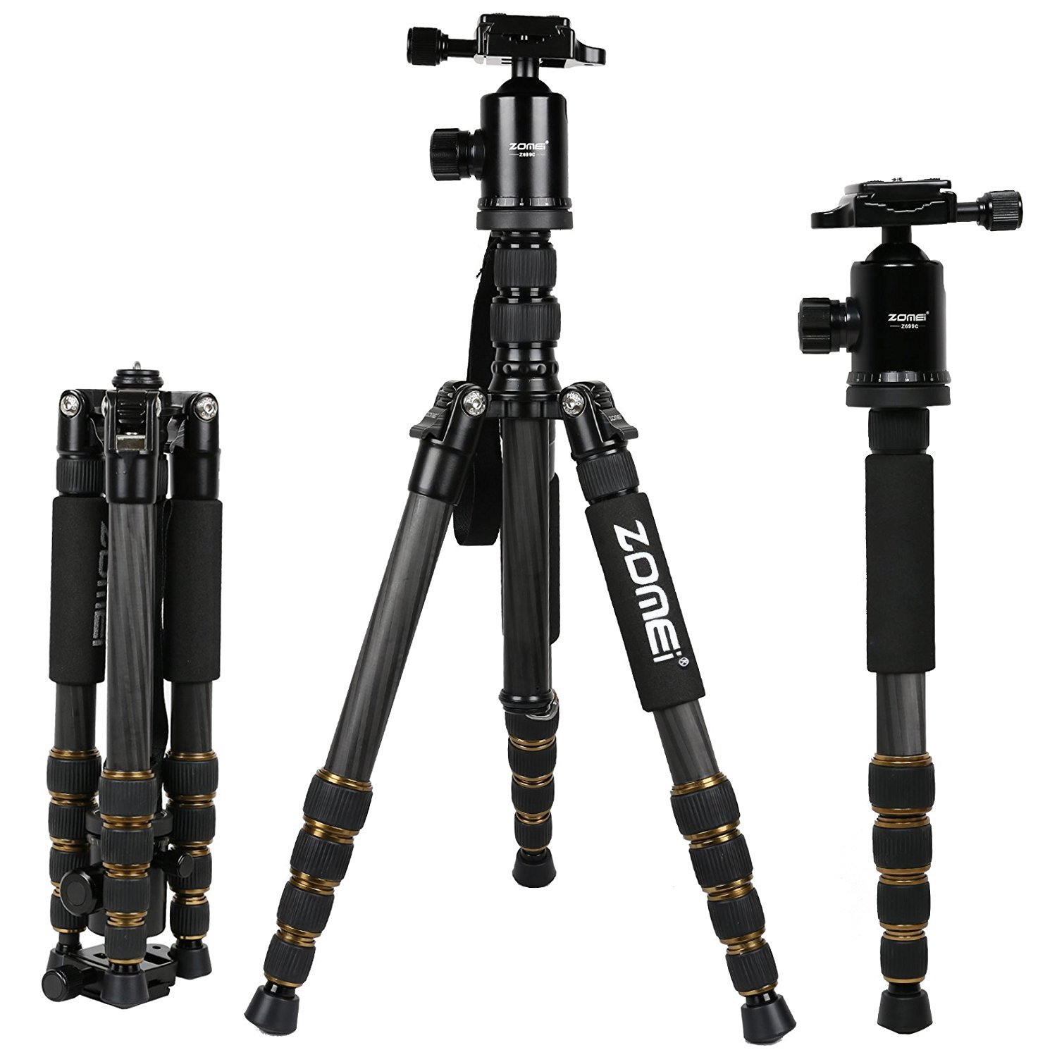 ZOMEI Z699C Carbon Fiber Portable Tripod with Ball Head Compact Travel for Canon,Sony, Nikon, Samsung, Panasonic, Olympus, Kodak, Fuji, Cameras and Video Camera by ZOMEI