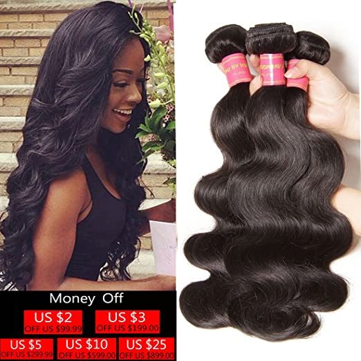 3-bundled Remy Brazilian wave hair extensions
