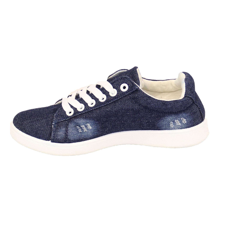 Donna Jeans Donna Strappato Scarpe sportive bassa con lacci FUNKY Scarpe con tacchi in tela scarpe NUOVO - blu scuro - syBjUptDy