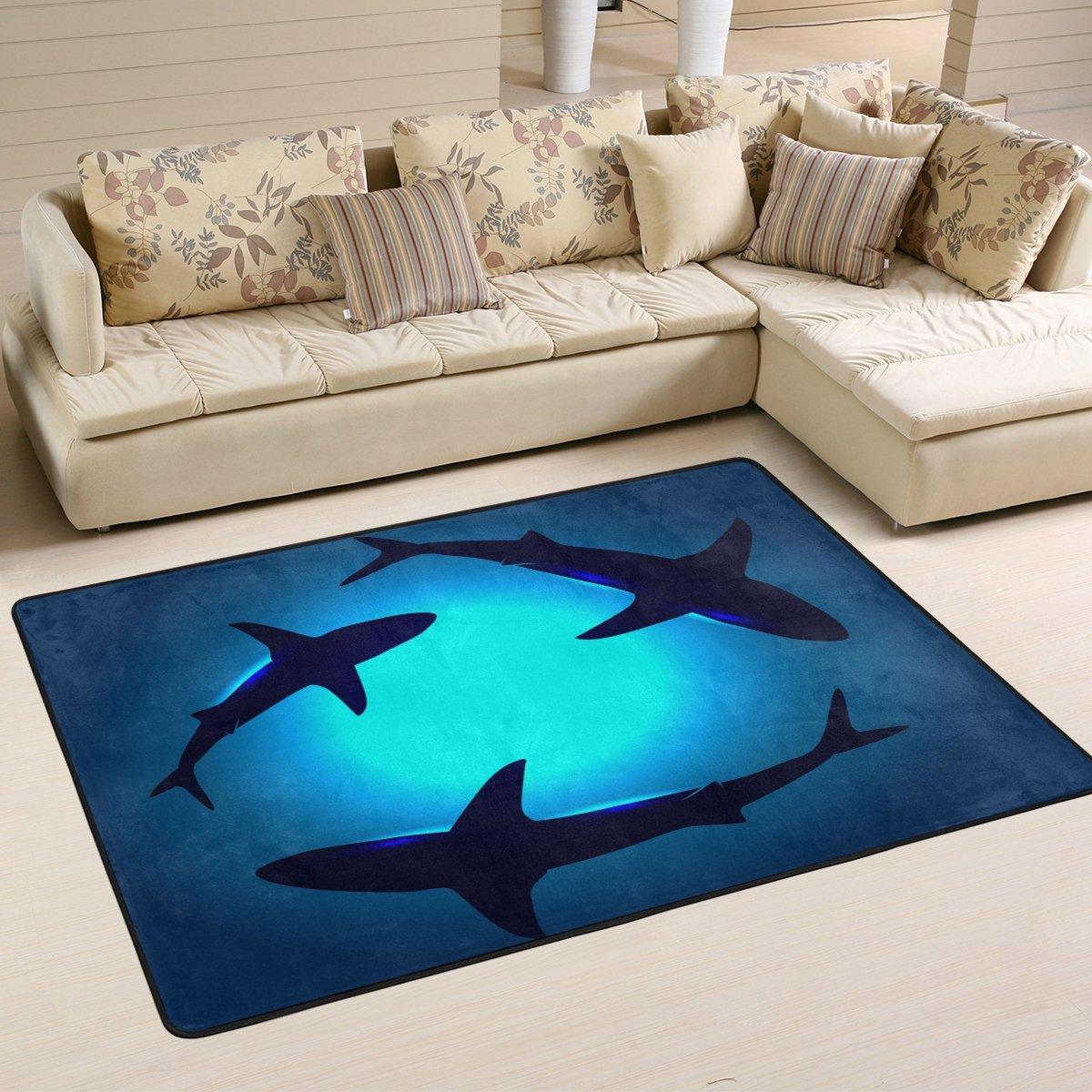 Naanle Ocean Animal Sharks Non Slip Area Rug for Living Dinning Room Bedroom Kitchen, 4 x 6 48 x 72 Inches , Shark Nursery Rug Floor Carpet Yoga Mat