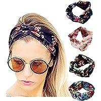 NOCTUA 4 Pack Women Headband Boho Floal Style Criss Cross Head Wrap Hair Band (Style A)