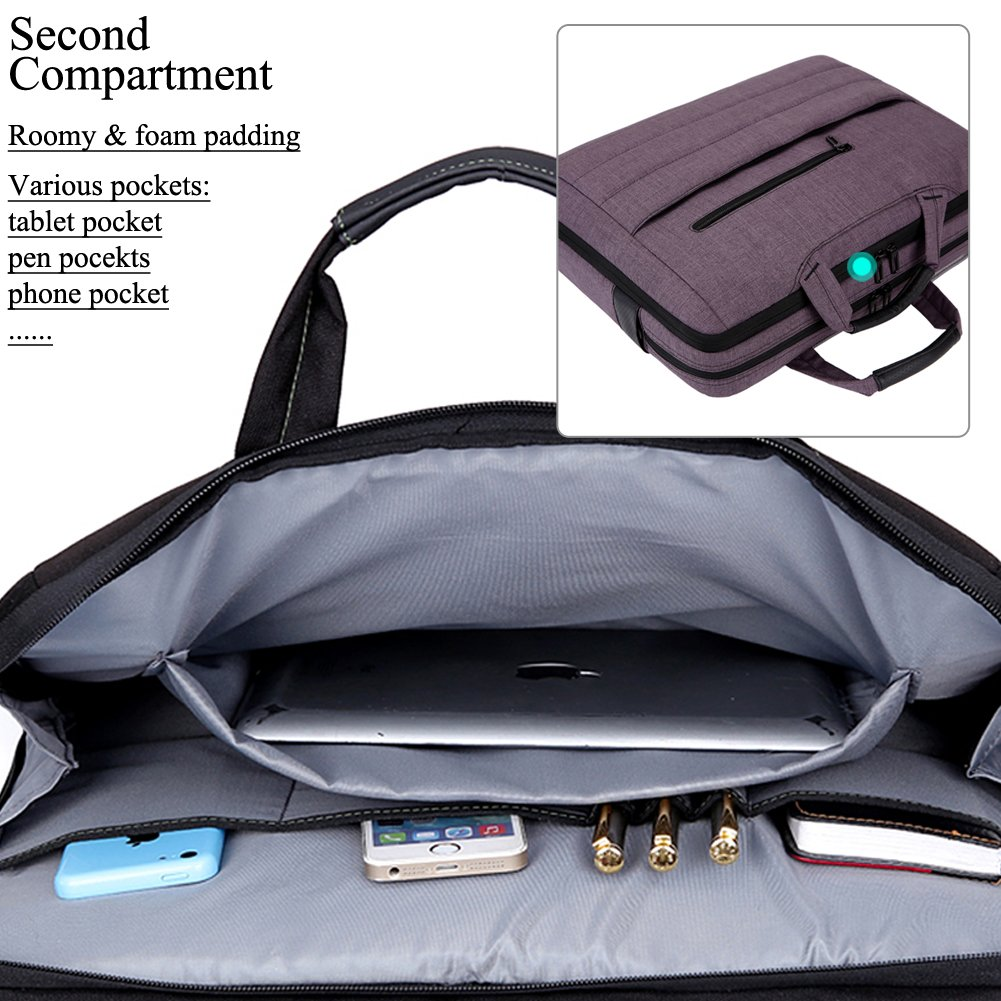 BRINCH 17.3 Inch Nylon Shockproof Carry Laptop Case Messenger Bag For 17-17.3 Inch Laptop/Notebook/MacBook/Ultrabook/Chromebook with Shoulder Strap Handles and Pockets (Dark Purple) by BRINCH (Image #3)