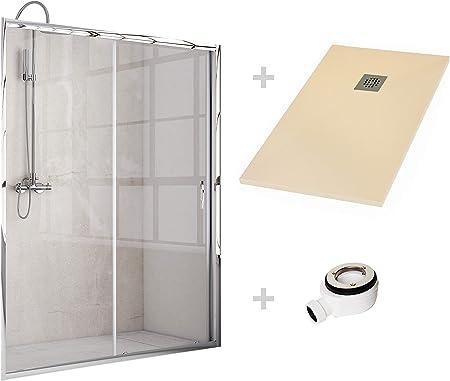 Crocket Kit Mampara de Ducha Frontal + Plato de Ducha de Resina Stone + Puerta Corredera Cristal Transparente - Incluye Sifón y Rejilla - Crema RAL 1013-70 x 150 (Adaptable 140 a 149 cm): Amazon.es: Hogar