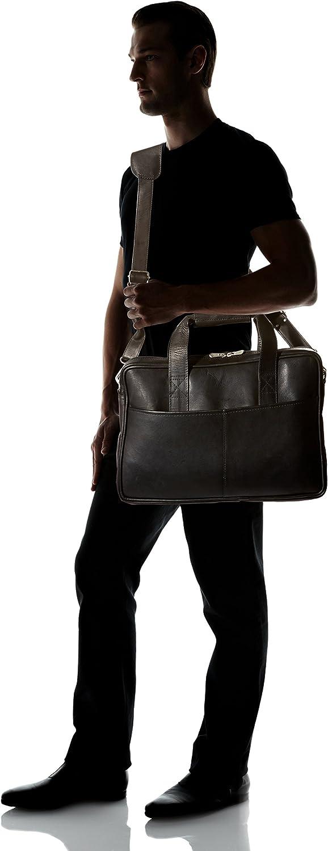 Black One Size Piel Leather Top-Zip Portfolio