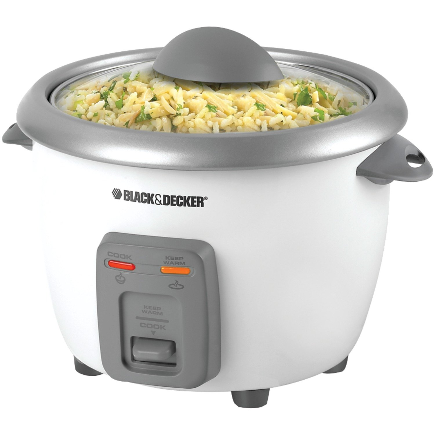 Black & Decker RC3406 3-Cup Dry/6-Cup Rice Cooker and Steamer, White