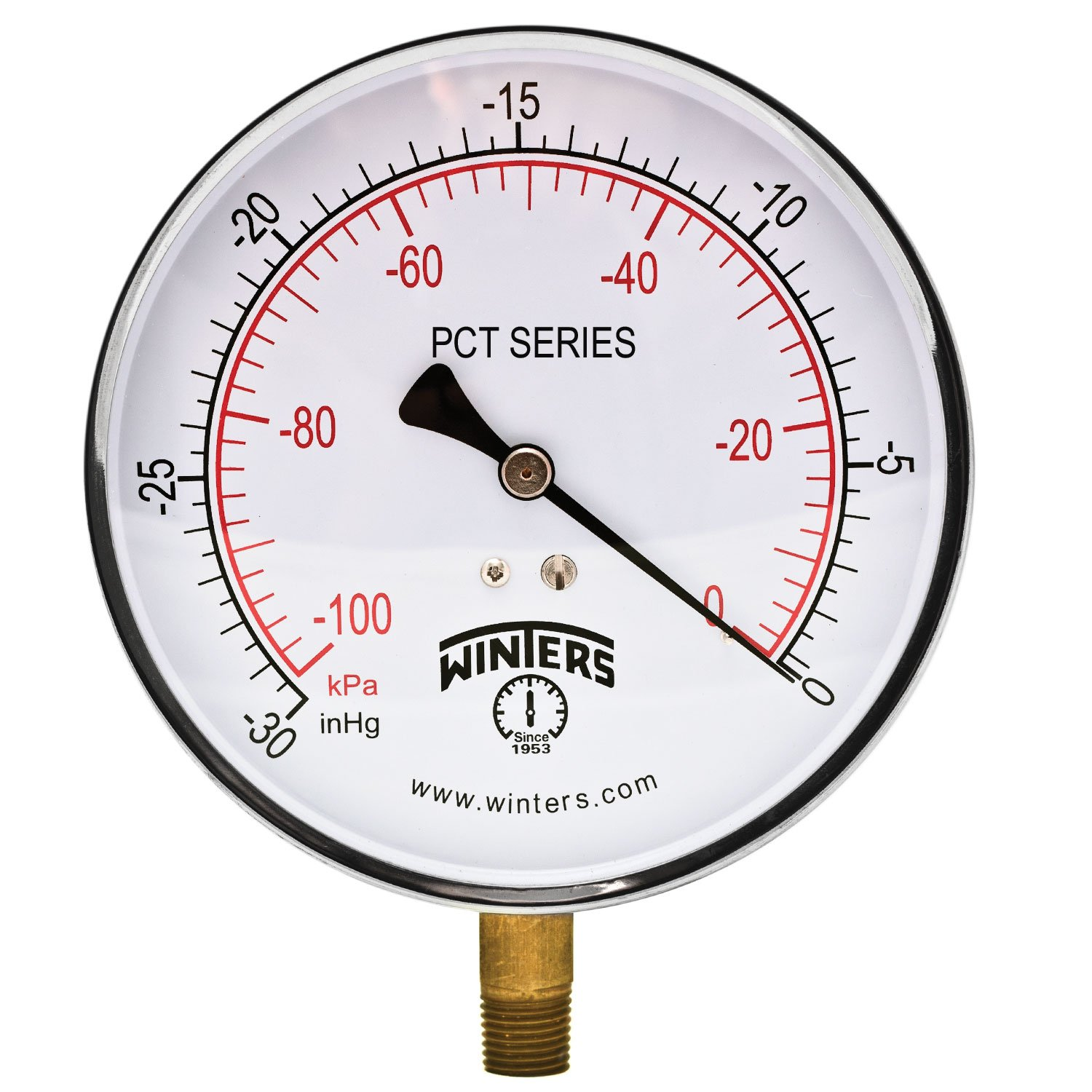 Winters PCT Series Stainless Steel 304 Dual Scale Contractor Pressure Gauge 30Hg Vacuum kpa 4 1 2 Dial Display 1% Accuracy 1 4 NPT Bottom Mount