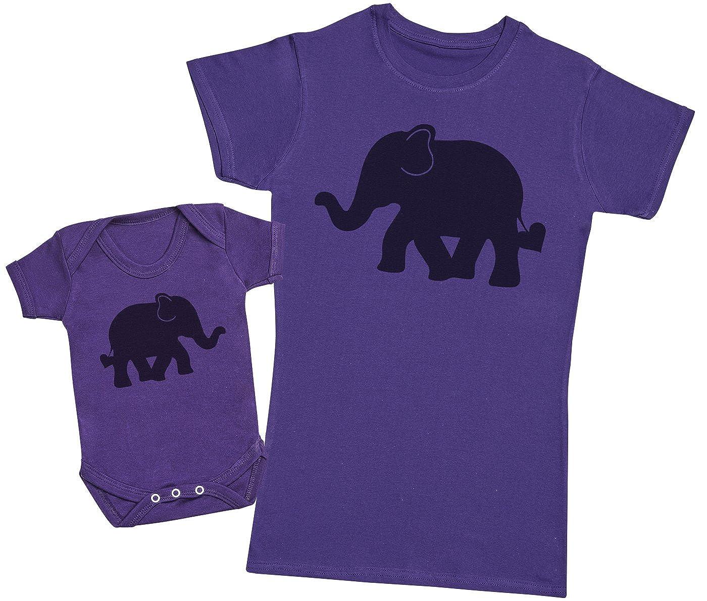 Femme T Shirt /& B/éb/é Bodys Ensemble M/ère B/éb/é Cadeau Zarlivia Clothing Baby and Mummy Elephants