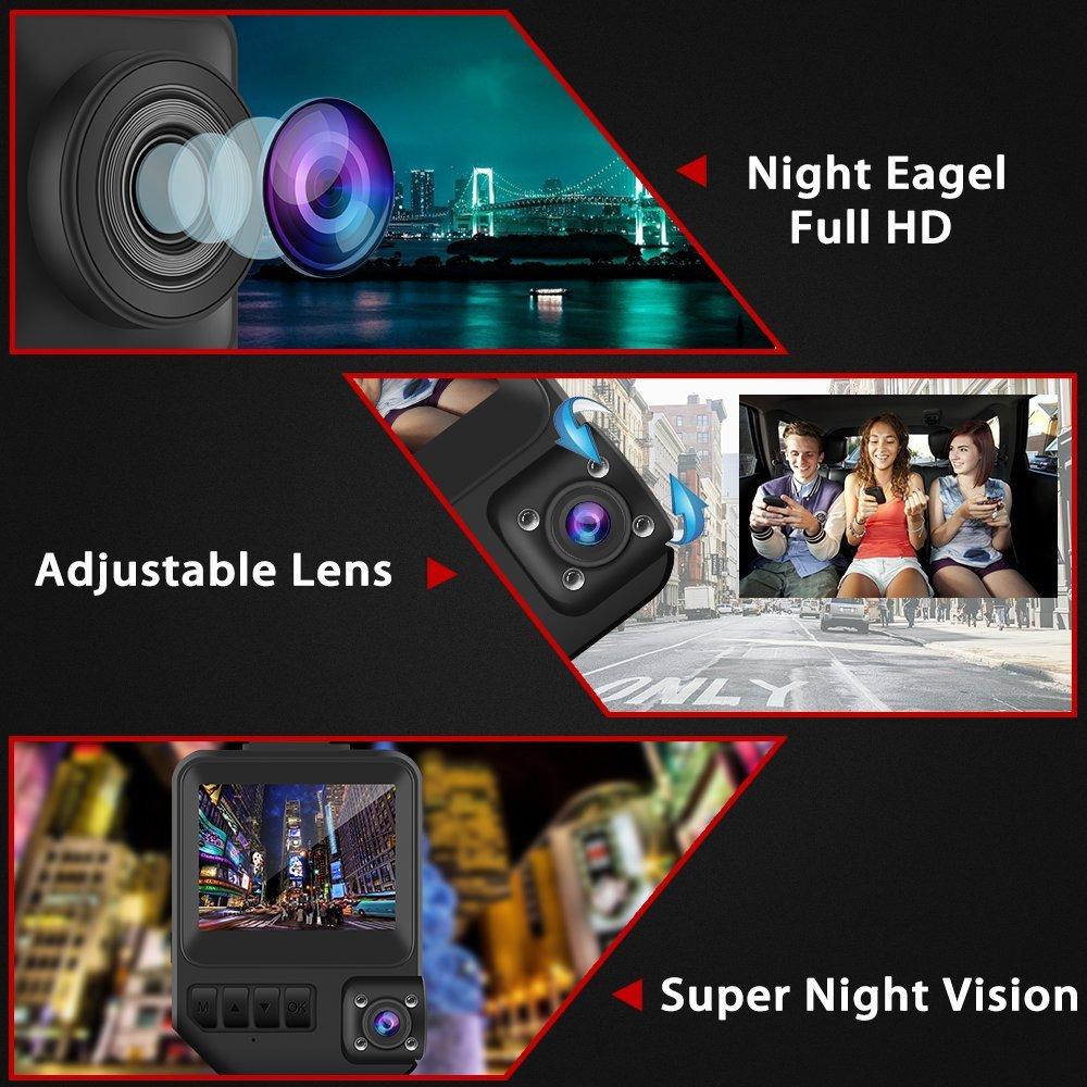 Modohe Dash Cam Embarqu/ée 2 Lentilles Lenregistreur de conduite FULL HD 1080P DVR 170/°Grand Angle Capteur-G Cam/éra de Voiture D/étection de Mouvement Enregistrement en Boucle DASHCAM Enregistreur
