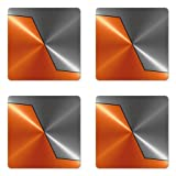 Ambesonne Orange and Grey Coaster Set of Four, 3D