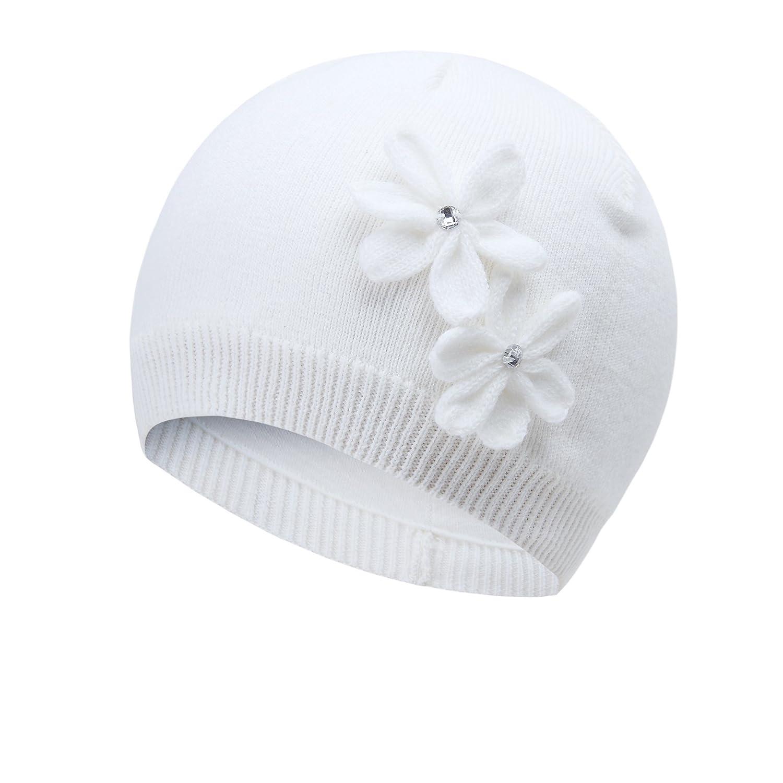 Vivobiniya Baby Hats Toddler Girl's Winter Knitted Cap Flower Hat 0-6T 6129-1