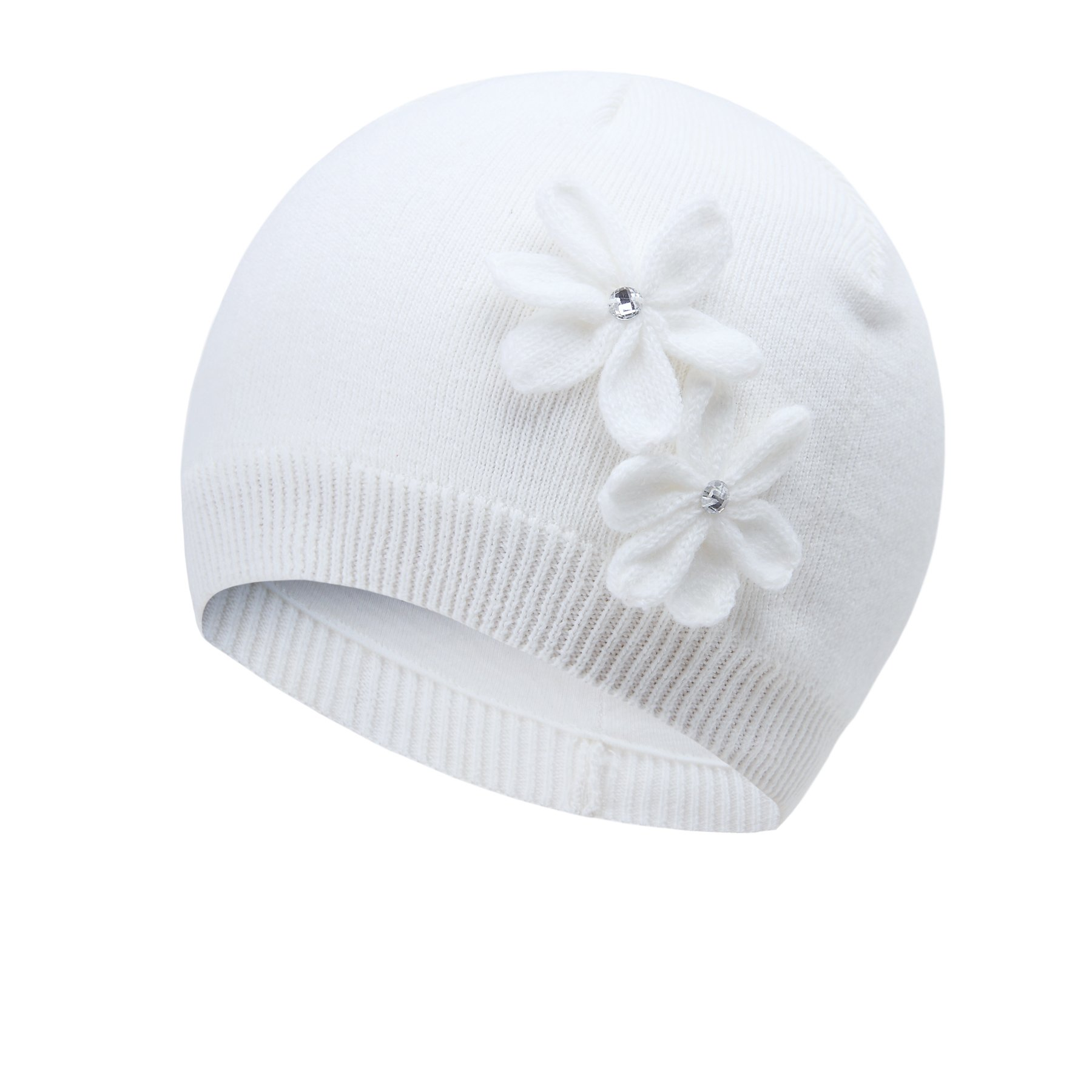 vivobiniya Toddler Girl's Winter Knitted Cap Flower Hat Pink and White 0-6T (1-2Years Old(Head Circumference 17.3in-18.8in), White