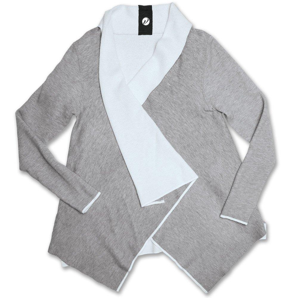 Levelwear VP00LCWHTCGY2MED The Jayden Cardigan, White, Medium