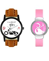 Jay Khodal Creation Analogue Multi-Colour Dial Men's & Women's Couple Watch - Fx-406-Vt-24