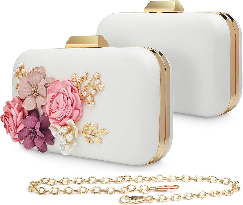 WATACHE Women Flower Clutches Evening Bags Handbags Pearl Beaded Wedding Clutch Purse for Prom Christmas Party Wedding Bride