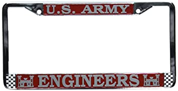 us army engineers license plate frame chrome metal