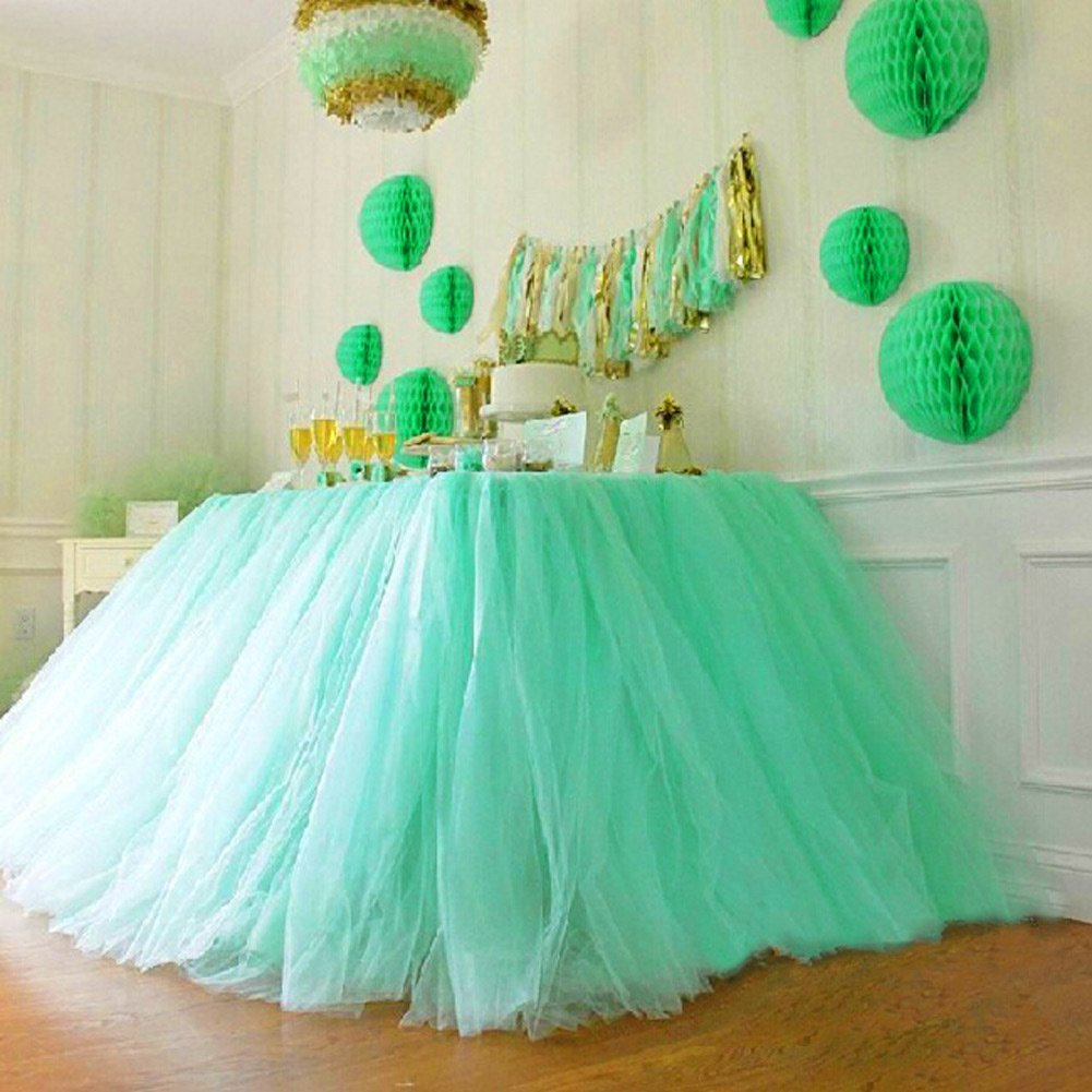 Baby Shower Party Baby 1st Birthday Snowflake Wonderland Theme Decorations for Table Decoration 30 by 39 inch AerWo Aqua Blue Tutu Table Skirts
