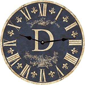 Personalized Monogram Wall Clock No Ticking Round Wood Clock Blue Monogram Vintage Home Decor Living Room Bedroom Office School Baby Room Clock