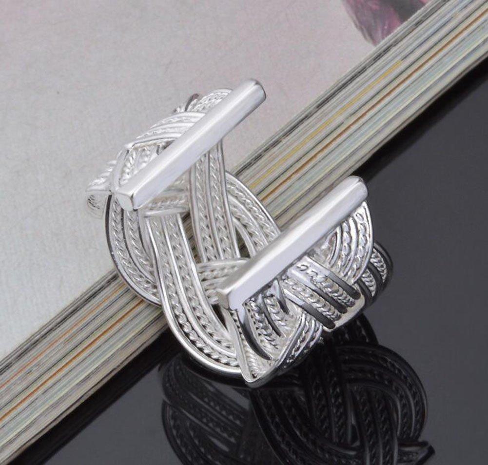 WeiMay Gioielli anello da donna Gioielli Argento Donna Twist Rope vintage Anello aperto Gioielli per le Ragazze Impegno di nozze Anelli di barretta Accessori Regalo di compleanno