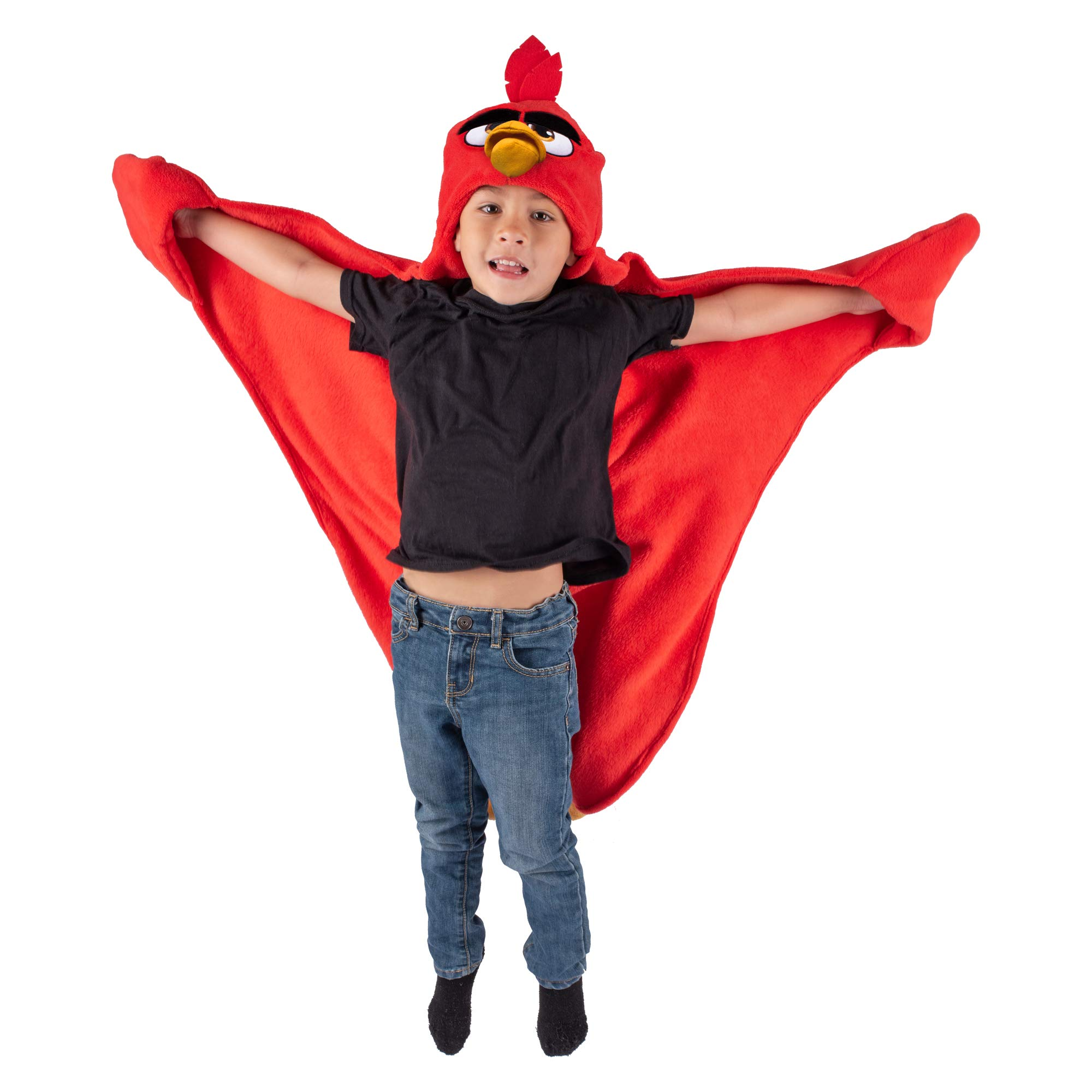 Angry Birds Red Blanket for Boys and Girls - Wearable and Hooded Fleece Blankets by Fin Fun