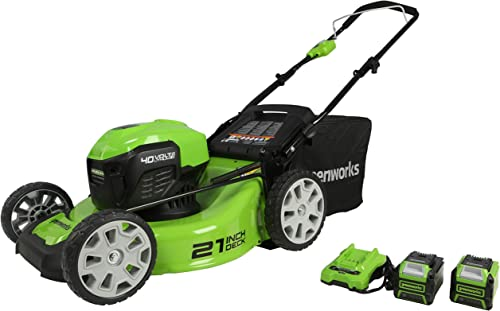 Greenworks 40V 21 Brushless Lawn Mower, 4Ah and 2Ah USB Batteries and Charger Included MO40L4210