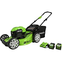 "Greenworks 40V 21"" Brushless Lawn Mower, 4Ah and 2Ah USB Batteries and Charger Included MO40L4210"