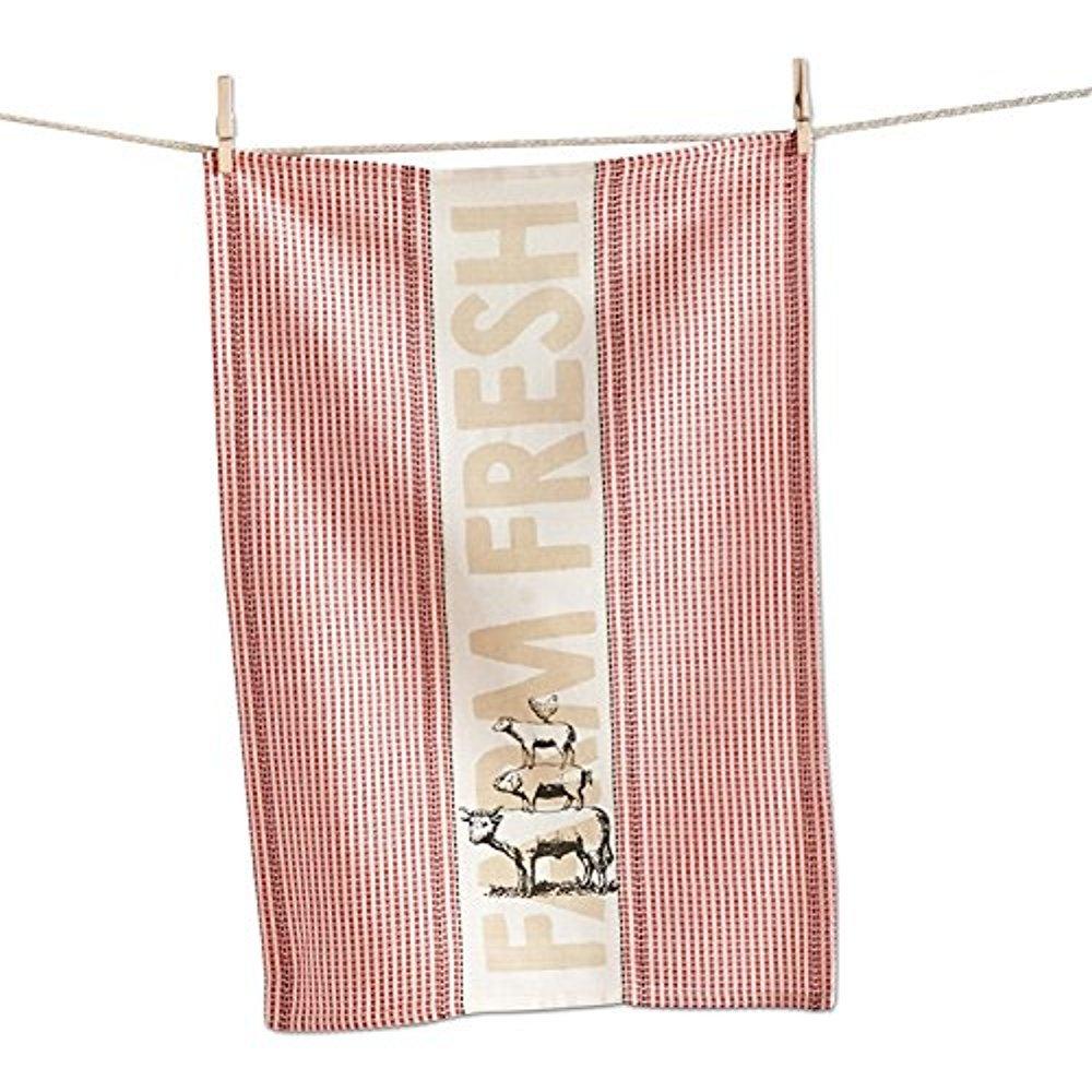 TAG Rustic Farm Fresh Waffle Weave Red Dish Towel - Country Farm Animals (Chicken, Sheep, Pig, Cow) Dish Cloths (1)