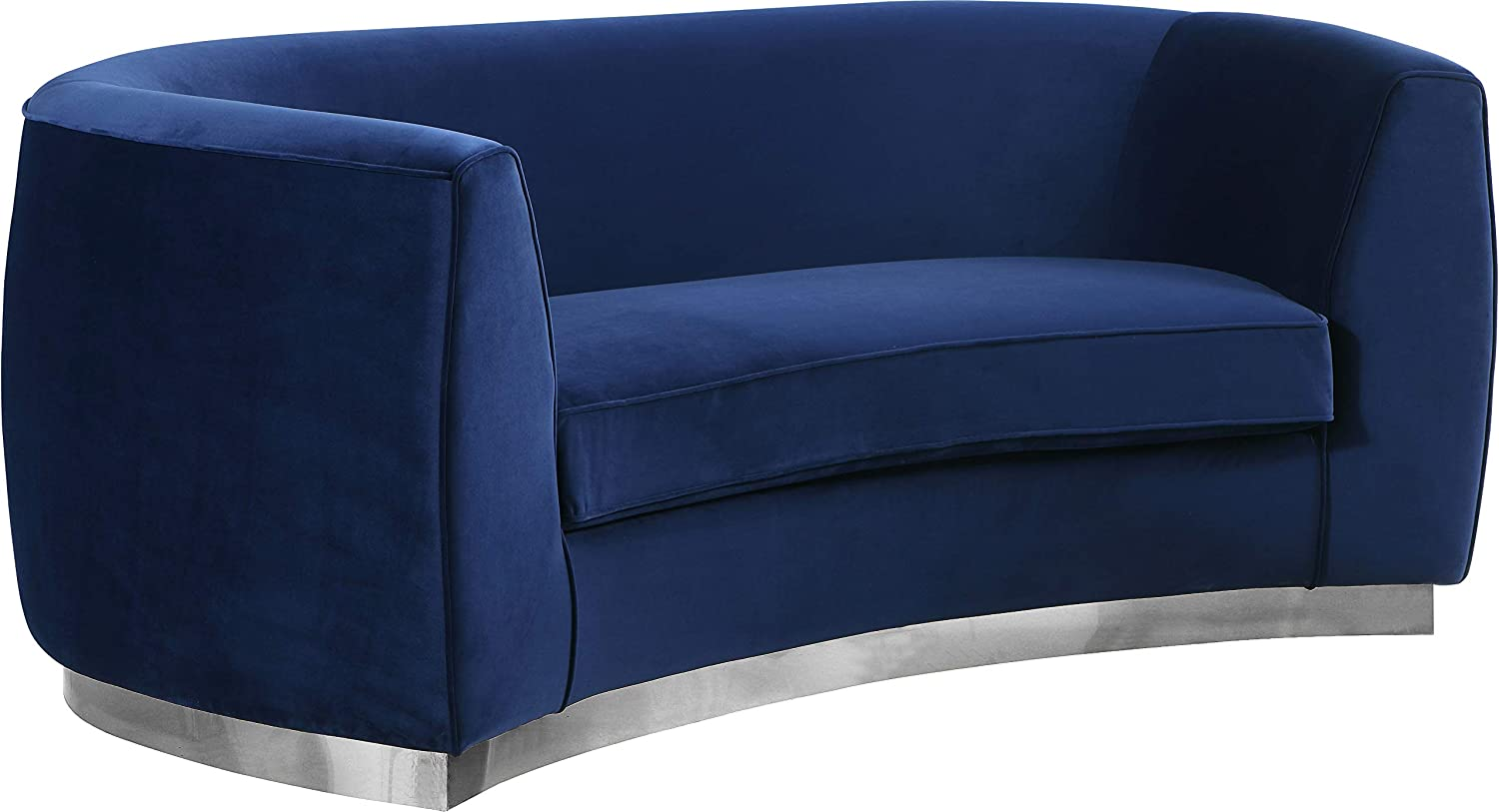 Meridian Furniture Julian Collection Modern   Contemporary Velvet Upholstered Loveseat with Stainless Steel Base in Polished Chrome Finish, Navy, 70