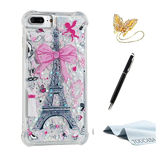 TOUCASA Funda iPhone 8 Plus,Funda iPhone 7 Plus, Glitter Liquida Transparente TPU Silicona,Funda Móvil Case Líquido Quicksand Anti-arañazos Case Cover para ...