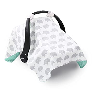 Grey Elephant Infant Car Seat Canopy Cover By The Peanut Shell